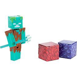 Minecraft Фигурка Майнкрафт Утопленник с аксессуарами, 9 см