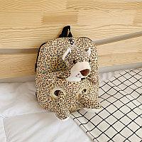 Детский рюкзак с мягкой игрушкой Леопард