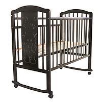 Кровать детская PITUSO NOLI МИШУТКА колесо-качалка с наклад. опуск.планка Венге