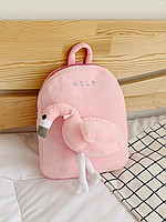 Детский рюкзак с мягкой игрушкой Фламинго