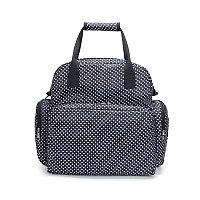 Многофункциональная сумка-рюкзак для мамы синий/горошек
