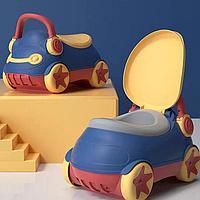 Детский горшок Baby Potty Машинка с мягкой сидушкой синий