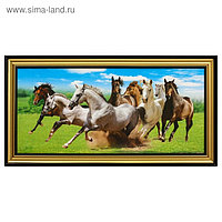 """Картина """"Лошади"""" 38х75 см 207 рамка МИКС"""