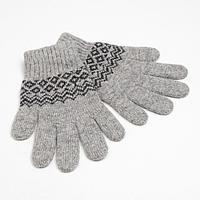 Перчатки женские шерстяные 04196 цвет серый/узор, р-р 6,5-7,5