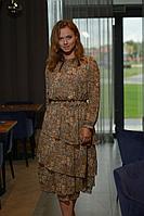 Женское осеннее шифоновое коричневое нарядное платье Anna Majewska 1487 1 42р.