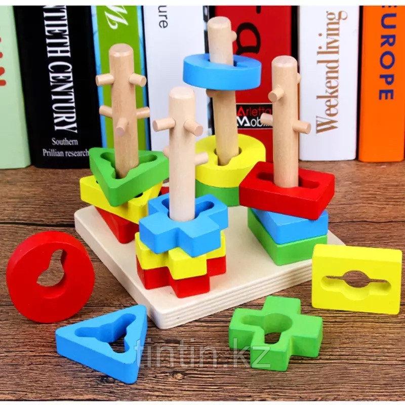 Деревянная логическая пирамидка