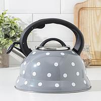 Чайник со свистком Доляна 'Горошек', 2,8 л, цвет серый