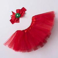Набор 'Новогодний' юбка и повязка на голову, 3-18 мес, красный