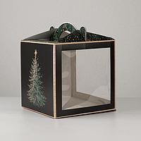 Коробка кондитерская с окном, сундук, 'Новогодняя посылка' 20 х 20 х 20 см (комплект из 5 шт.)