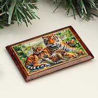 Магнит 'Семья тигров', 5х7 см, лаковая миниатюра (комплект из 2 шт.)