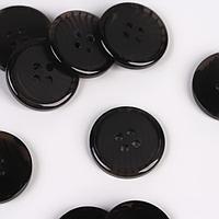 Набор пуговиц, 4 прокола, d 20 мм, 12 шт, цвет чёрный