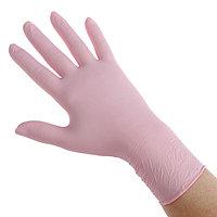 Медицинские перчатки нитриловые текстур Benovy Q, М, розовые, 50 пар/100 шт (комплект из 50 шт.)