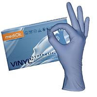 Перчатки одноразовые виниловые MEDIOK, 100шт, размер L,XL, цвет голубой