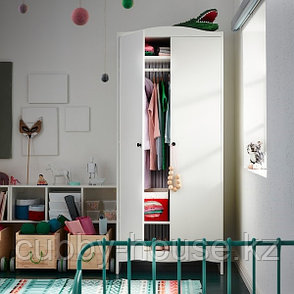 СМОГЁРА Шкаф платяной, белый, 80x50x187 см, фото 2