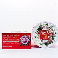 FarmStay Rose Ceramide Hydrogel Eye Patch Гидрогелевые патчи для глаз увлажняющие с экстрактом дамасской розы