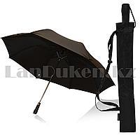 Зонт полуавтомат большой с чехлом и прямой матовой ручкой 54 см однотонный черный
