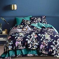 Комплект постельного белья двуспальный из египетского хлопка с тропическими растениями и цветами