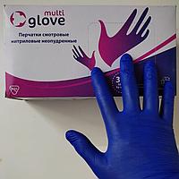 Перчатки одноразовые нитриловые Multi glove, размер S. M. L, 100шт/50пар, цвет синий
