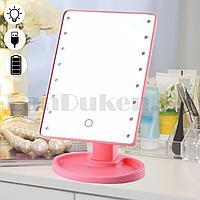Зеркало косметическое настольное аккумуляторное с подсветкой с подставкой XW-085 розовое