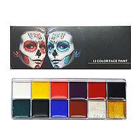 Аквагрим, набор красок для лица и тела 12 цветов
