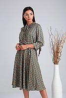 Женское осеннее атласное зеленое нарядное платье Verita 2014 зеленый 46р.