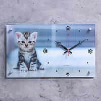 """Часы настенные """"Котёнок"""" 60х36 см, АА, плавный ход"""