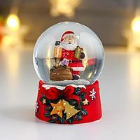 Сувенир полистоун водяной шар 'Дедушка Мороз с охапкой подарков' d6,5 см (комплект из 8 шт.)