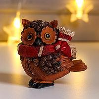 Фигурка 'Сова в красном шарфике' 7x4,5x6,5 см