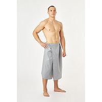 Полотенце вафельное для бани 'Экономь и Я' (мужской килт), 75х144см, цвет серый
