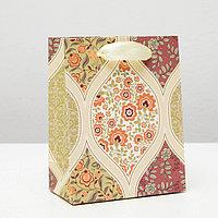 Пакет подарочный 'Красивый узор из цветов', красный, люкс, 11,5 х 14,5 х 6,5 см (комплект из 12 шт.)
