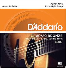 Струны для акустической гитары Extra Light 10-47 D`Addario EJ10 80/20