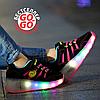 Кроссовки на роликах с подсветкой, черно-розовые, замшевые 30