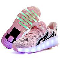 Кроссовки на роликах с подсветкой, розовые ткстиль
