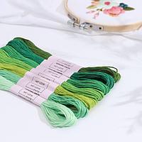 Набор ниток мулине, 8 ± 1 м, 7 шт, цвет зелёный спектр