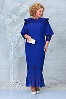 Женское осеннее кружевное синее нарядное большого размера платье Ninele 5851 василек 54р.