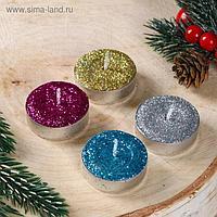 """Набор новогодних свечей чайных """"С Новым годом, золото, серебро"""", блёстки, 4 шт"""