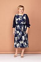 Женское осеннее трикотажное нарядное большого размера платье Соджи 509 синий 50р.