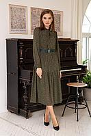 Женское осеннее шифоновое зеленое платье Olegran 3786 зеленый_в_горох 46р.