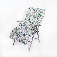 Подушка-матрас водоотталкивающ., цветы на бел., 140х60х3,5 см.