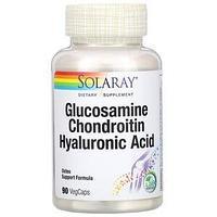 Solaray, глюкозамин, хондроитин и гиалуроновая кислота, 90 растительных капсул