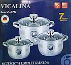 Кастрюля набор Vicalina vl-675 из нержавеющей стали, фото 2