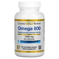 California Gold Nutrition, омега 800, рыбий жир фармацевтической степени чистоты, 80% ЭПК/ДГК, в форме триглиц