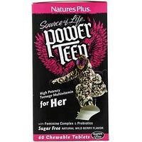 Nature's Plus, Source of Life, можный подросток, для нее, Без сахара, натуральный вкус лесных ягод, 60 жевател
