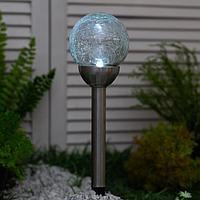 Садовый светильник на солнечной батарее Smartbuy, нержавеющая сталь, стекло, 10 x 10 x 40 см