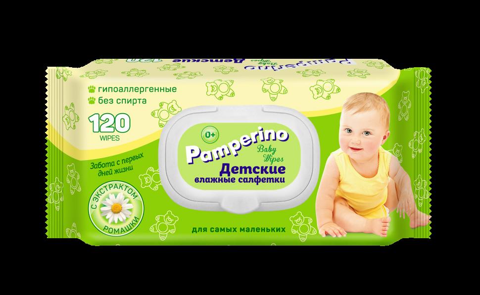 Pamperino №120 детские влажные салфетки с пластиковым клапаном с ромашкой