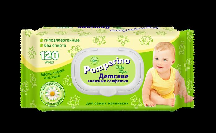 Pamperino №120 детские влажные салфетки с пластиковым клапаном с ромашкой, фото 2
