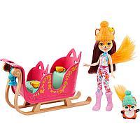 Набор игровой Enchantimals Рождественские сани кукла+питомец