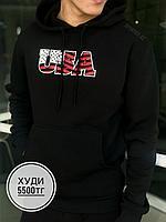 Худи с капюш USA америка черные, фото 1