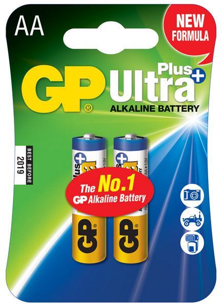 Батарейки LR6 AA 2 шт GP Batteries Ultra Plus alkaline