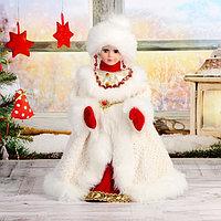Снегурочка 'Шик' в бело-красной шубке и в варежках, двигается, 40 см